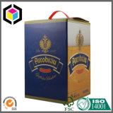 Contenitore impaccante ondulato di bottiglia da birra del vino della stampa di colore dell'oro con la maniglia