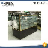 Flat Glass Cake Display Showcase Chiller com quatro rodas de rodízio