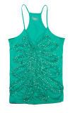 Green Color Ladies Sequin Vest
