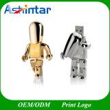 Aandrijving van de Flits van de Robot USB van de Stok van het metaal USB de Gouden Zilveren