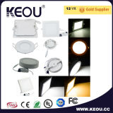 Blanco/Plata de la superficie de la luz de panel LED 6W/9W/12W/18W/24W
