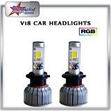 9005 RGB LED Car Headlights pelo Bluetooth Control Single Beam
