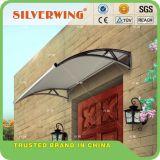 Nuevo diseño de cubierta con canaletas de agua policarbonato bricolaje PC toldos para ventana de la Puerta de precio barato