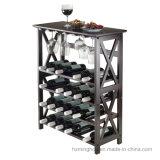 De 24-fles van grondbeginselen het Houten Rek van de Wijn van de Vloer met het Rek van de Glazen van de Wijn