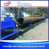 Taglio rotondo d'acciaio di CNC del tubo del grande diametro e macchina di smussatura con il taglio alla fiamma del plasma