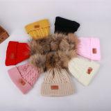 Sombrero promocional unisex del bebé de la piel POM POM del precio bajo