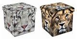 حيوانيّ تصميم مربع مكعّب [بو] جلد وخشبيّة يطوي تخزين مقادة [أتّومن] كرسيّ مختبر