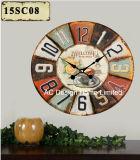 Vintage украшения старинных классический дизайн кофе MDF деревянные таблички бумаги для печати Настенные часы