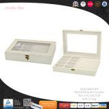 Transparentes Fenster-kundenspezifischer lederner Schmucksache-Bildschirmanzeige-Tellersegment-Kasten (8064)