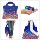 Tamanho grande saco de compra Foldable personalizado do poliéster do logotipo, pacote de Rolls da mola