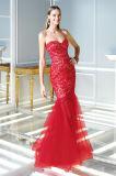 Laço e vestido de noite vermelhos do partido da sereia de Tulle