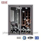 China Perfil Auminium Fábrica portas deslizantes com painel de vidro