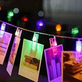 Decoração do casamento do partido da luz da corda do grampo do Peg da foto do diodo emissor de luz de Sunnior 20 (branco morno)