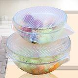 Las cubiertas de envoltura de alimentos de silicona reutilizables.