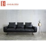 Sofá preto superior do couro genuíno de Nappa do estilo italiano para a sala de visitas