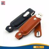 Высокоскоростной порт USB 3.0 кожаная сумка флэш-накопитель USB с логотипом тиснение (emboss)
