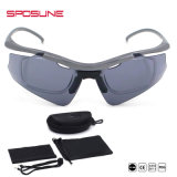 Zonnebril van de Sportkleding van de Zonnebril van de Lens van het Frame van de Bijziendheid van de fabriek de Directe Afneembare Grijze