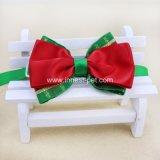 legame di arco verde rosso del cane del rifornimento del cucciolo dell'animale domestico di natale