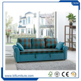 Hauptmöbel-Antike-Gewebe-blaue Farbe 3 Seater faltendes Sofa-Bett