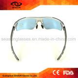 Garniture intérieure carrée bleue de bâti de myopie en verre de Sun de sport de lentille du meilleur de la CE bâti d'argent faisant un cycle pilotant la lunetterie