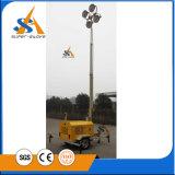 Torre clara do gerador móvel com reboque silencioso
