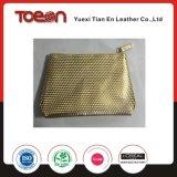 真珠の金PUの化粧品袋