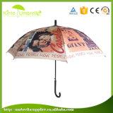 Abbildung-Drucken-gerader Patio-Regenschirm der Qualitäts-23 des Zoll-J Griff kundenspezifischer