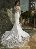 Satin Mermaid Lace Noite Suite vestido de casamento