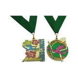 Medaglia molle di sport di maratona del metallo del ricordo dello smalto placcata argento antico