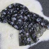 Mola de 2018 Nova Lenço Feminino Moda Coreano Swan lenço de seda de simulação de impressão xale da Sun