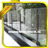 Precio coloreado aprobado Ce del vidrio Tempered 10m m 12m m para el pasamano