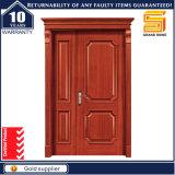 Porte d'entrée en bois solide extérieure de lame de double de garantie d'entrée