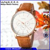 Lederne Brücke-beiläufige Quarz-Frauen-Armbanduhr (Wy-081A)