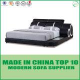 Size中国LEDライトが付いている現代王の本革のベッド
