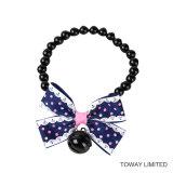 Collier de beauté d'animal familier d'accessoires de bijou de Bell de perle de crabot de qualité