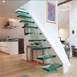 Стекло с плавающей запятой шаги по лестнице с слоистого стекла и Стрингер Pre-Embeded регулировки ширины колеи