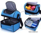 Lunch Box Bolsa de almuerzo aislado refrigerador grande Bolso para los hombres, mujeres, Double Deck del refrigerador (negro)