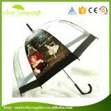 Paraguas transparente abierto automático recto del Poe con la impresión del edificio