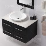 Sanitarywareの現代浴室の固体表面はキャビネットの洗面器を沈める