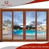 Super calidad Exterior/Interior puerta corrediza de vidrio de aluminio con persianas