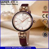 Orologio della fabbrica della donna del quarzo della cinghia di cuoio di modo (Wy-100A)