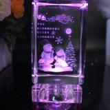 OEM van de Gravure van de Laser van de Kubus van het Glas van het Kristal van de Giften van Kerstmis Embleem