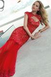 Платье вечера выпускного вечера партии круглого Mermaid полой задней части шеи красное
