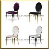Foshan-moderner Edelstahl-Rosen-Goldchrom-Oval-Rückseiten-Samt, der Stuhl speist