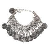 Chapado en plata Coin Drop de Danza del Vientre Bracelet Bangle bohemio cadena Anklet étnicas joyas aleación