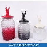 Vasi di vetro colorati coperchio di ceramica a forma di cervi