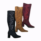 Wholesale Fashion Lady's Knee-High botas de tacón botas de invierno