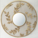 Decoração de metal redonda Ouro emoldurado Espelho de Parede