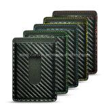 Novo Combinação Metal Money Clip Carbon Fiber Leather Business Card Holder