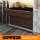 Armário de cozinha em madeira de laca branca com estilo Oppein elegante (OP16-L17)